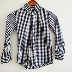 3/$25 Jack Thomas gingham plaid navy and white size 5 long sleeve button down